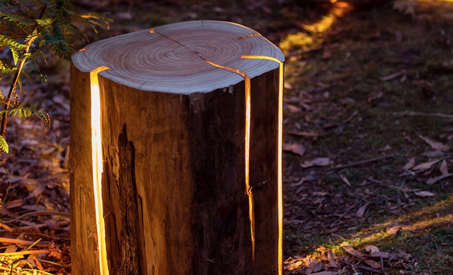 Lampe tronc d arbre - Maison en tronc d arbre ...
