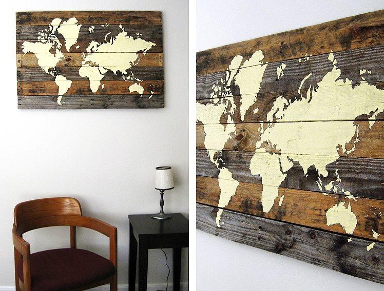 Des superbes cartes du monde compos es de 7 planches de bois joli joli design - Le monde muebles ...