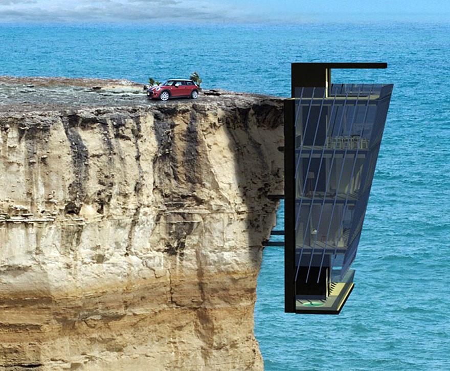 Dessin De Villas Simples : Une maison construite à même le bord d falaise joli