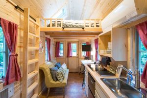 Tumbleweed Elm interior with all pine boards throughout.