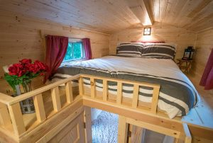 Tumbleweed Elm sleeping loft is relaxing and a great way to catch some z's.